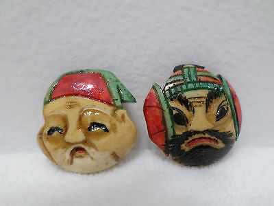 Japanese Charms Noh Theater Mask Set of Two Japan