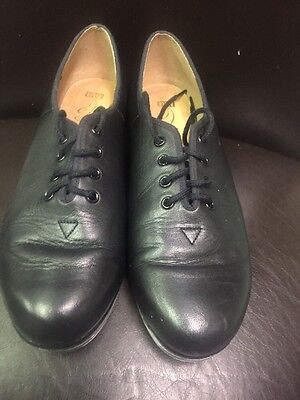 Bloch Black Leather String Up Techno Tap Shoes Size 7 1/2