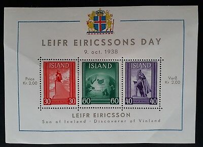 1938 Iceland Leifr Eiricssons Day Minisheet with 3 stamps MUH