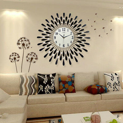 60Cm Clear Diamante Beaded Jeweled Black Sunflower Metal Spiked Wall Clock 155