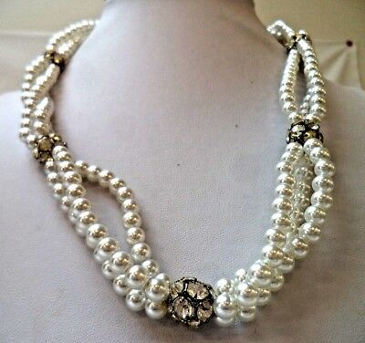 "Stunning Vintage Estate Faux Pearl Beaded Rhinestone 20"" Necklace!!! 9784Y"