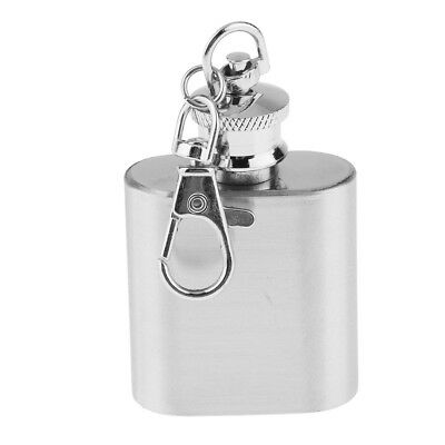 1oz Stainless Steel Hip Flask Liquor Pocket Container Flagon with Key Ring