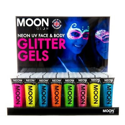 Moon Glow UV Neon glitter gel 80s festival adults kids face paint body make up