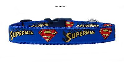 "BLUE YELLOW RED   ""  SUPERMAN  ""  medium large dog collar & or lead set  25mm"