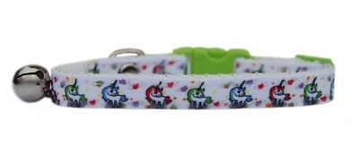 "WHITE GREEN RED BLUE PINK HEART ""UNICORN"" ribbon  safety kitten cat collar bell"