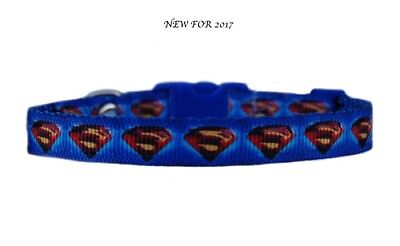 "Blue black yellow   ""SUPERMAN LOGO""  chihuahua dog puppy collar & or lead set"