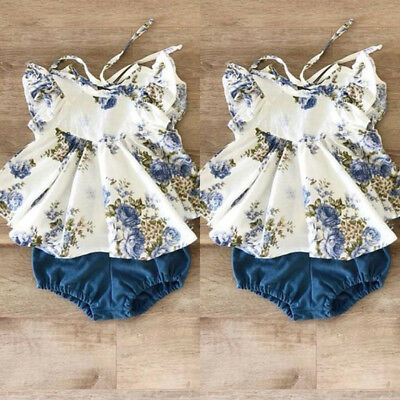 AU Newborn Infant Toddler Baby Girl Floral Tops Dress Harem Shorts Pants Clothes