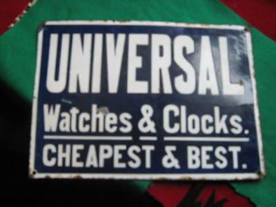 """Early Porcelain sign advertising watches and clocks 10"""" x 14"""""""