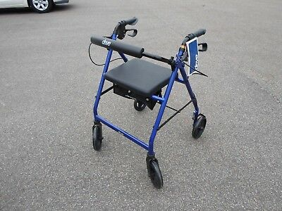 Drive Medical Rollator Walker with Fold Up  Seat, Blue R728BL