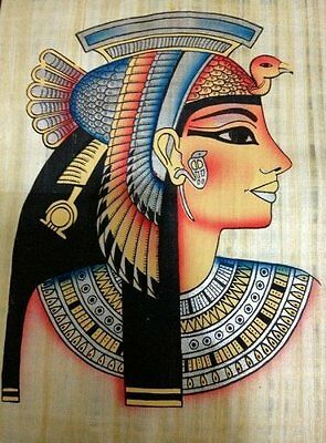 Huge Ancient Egyptian Queen Cleopatra Handmade Painting on Papyrus