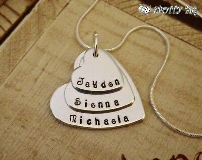 Personalised Necklace Childrens Names Three Heart, Gift, Grandma Mother