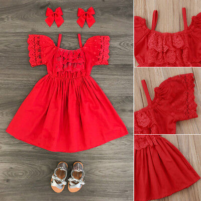 AU Stock Kid Baby Girl Dress Princess Lace Floral Party Dress Bridesmaid Clothes