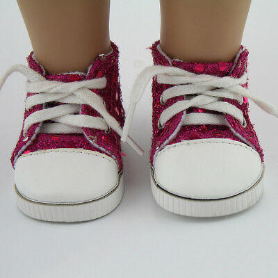 """Rose Pink Sequin Sneakers Shoes Reborn Dolls Accessories For 18"""" American Girl"""
