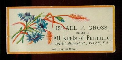 1880's York,PA - Israel F. Gross Furniture Advertising Calling Card