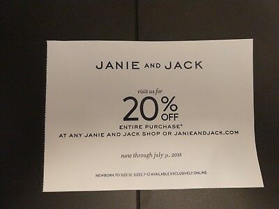 Janie and & Jack 20% off entire purchase coupon in stores/online Exp 07/31/2018