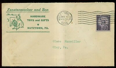 1955 Kutztown,PA - Fenstermacher and Son Hardware,Toys,Gifts Invoice & Cover