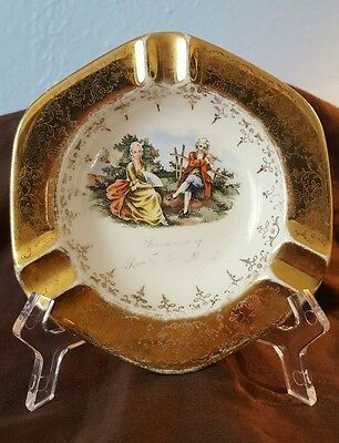 LIDO W S George Victorian White Colonial With Crest O Gold Trimmed Ashtray