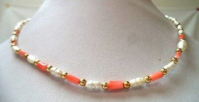 "Stunning Vintage Estate Faux Pearl Coral & Gold Tone 15"" Necklace!!!! 1094R"