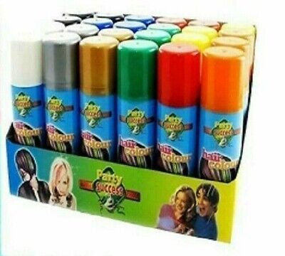 UV Neon Fluorescent Adults Kids Temporary Wash Out Coloured Hair Spray Can Dye