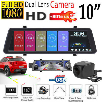 "10"" Auto Kamera Touch Screen Rearview Mirror Dashcam HD 1080P Dual Lens DVR Cam"
