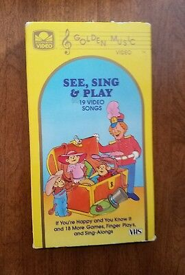 See, Sing, Play- 19 Video Songs-  VHS Tape- Very Rare VHTF-NOT ON DVD- Works!