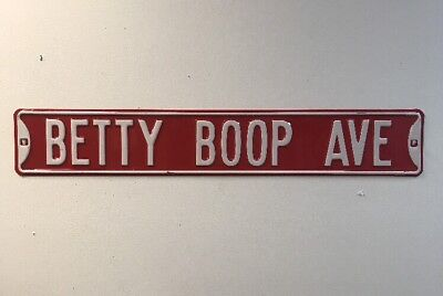 "Betty Boop Ave Embossed Heavy Metal Sign 36"" long"