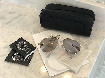 a407621f703d Chrome Hearts Stains Aviator Mirror White Gold Brown Gradient Sunglasses  Mint