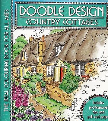 Country Cottages Colouring Book - Doodle Design - Art Therapy, New