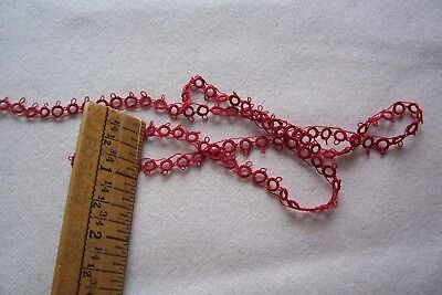 Antique Cotton Hand Tatted Lace/Trim Turkey Red Doll Pillow Craft 1yd