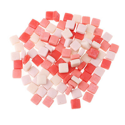 110x Square Glass Mosaic Tiles Pieces for Art DIY Crafts 12x12mm Mixed Pink