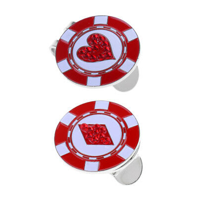 2pcs Portable Durable Magnetic Red Golf Hat Clip with Ball Marker for Golfer