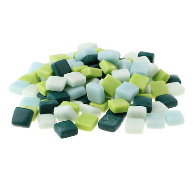 110x Square Glass Mosaic Tiles Pieces for Art DIY Crafts 12x12mm Mixed Green