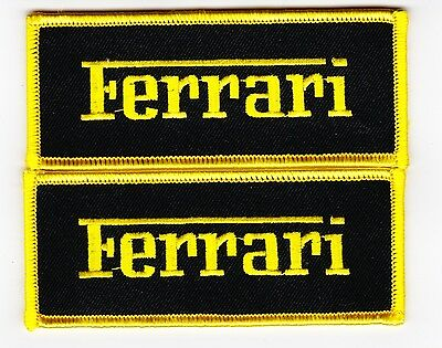 Ferrari Script Black Yellow Sew/iron On Patch Badge Embroidered Italy Sport Car