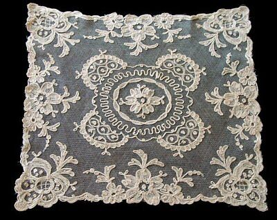 GORGEOUS Antique Hand Embroidered Net Lace Doily Chain Stitch Hand Made