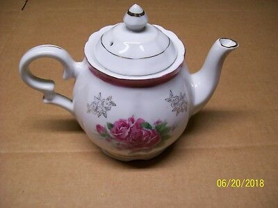 *VINTAGE* TRIMONT WARE JAPAN TEA POT PINK ROSES FLOWERS WHITE w GOLD TRIM