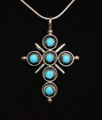 Necklace Cross Turquoise & Sterling Silver Native American Zuni Artist V Booque