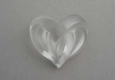Lalique Glass France Frosted Glass Heart Paperweight