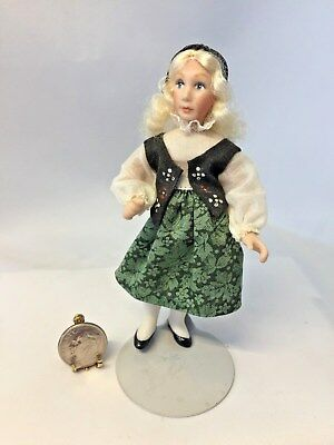 Dollhouse Miniature Artist Hand Made Porcelain Bavarian Girl Doll 1:12