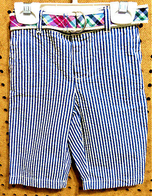 NWT RALPH LAUREN Infant Striped Seersucker Pants Plaid Belt Size 6M