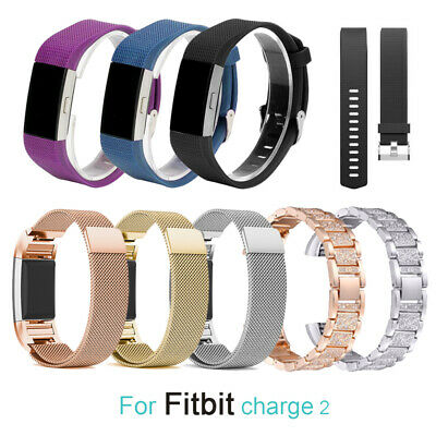 For Fitbit Charge 2 Strap Band Wristband Watch Replacement Silicone Metal Large