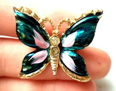 """Stunning Vintage Estate Colorful Butterfly Animal Gold Tone 1 1/8"""" Brooch! 1101U"""