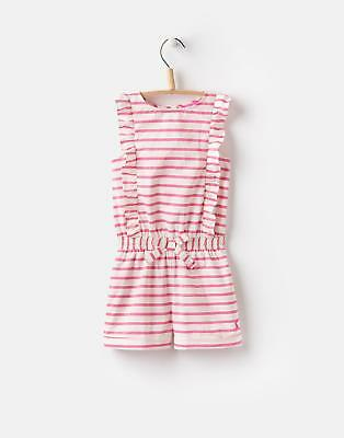 Joules Elle Frill detail Playsuit 1 6yr in Bright Pink Stripe Size 3yr