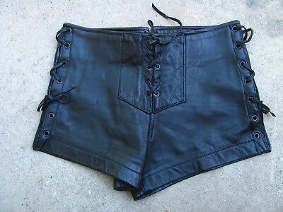 Black Leather Lace Up Hot Pants Shorts Size Small Biker