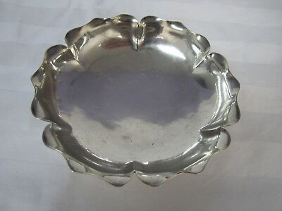 """Antique Ruffled Edge Sterling Bowl Hand Wrought 4 x 1"""" Deep Signed"""