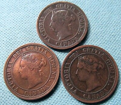 Lot of 3 1881-H Canada Victorian Large Cent Old Coins - N in REGINA Varieties