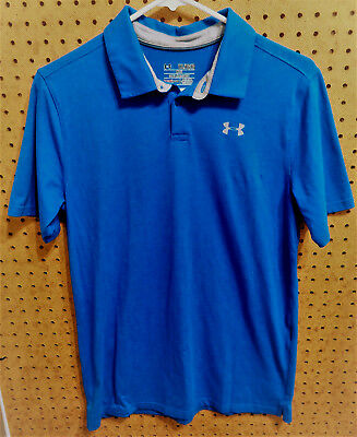 EUC UNDER ARMOUR HEAT GEAR Youth Blue PLAYOFF SS Golf Polo Shirt Size YXL