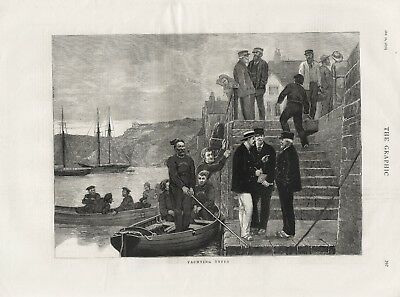 OLD ANTIQUE 1876 PRINT HARBOUR SCENE YACHTING TYPES b43