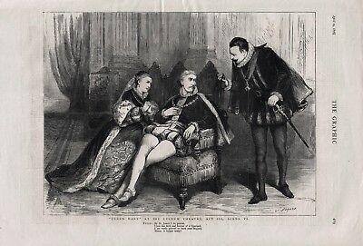 OLD ANTIQUE 1876 PRINT SCENE FROM QUEEN MARY AT THE LYCEUM THEATRE b43