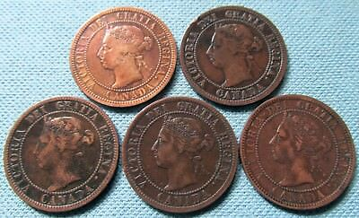 Lot of 5 Canada Queen Victoria Large Cent One Cent 1890-H 1891 1896 1897 1901