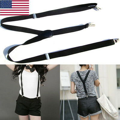 Women Men Clip-on Elastic Suspenders Y-Shape Adjustable Braces Solids Strap GB09